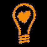 lightbulb heart icon light up the love